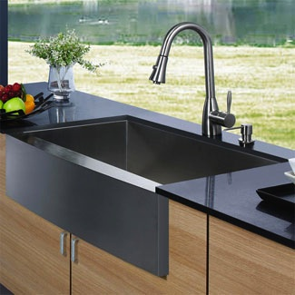 Stainless farmhouse sink has more timeless style.